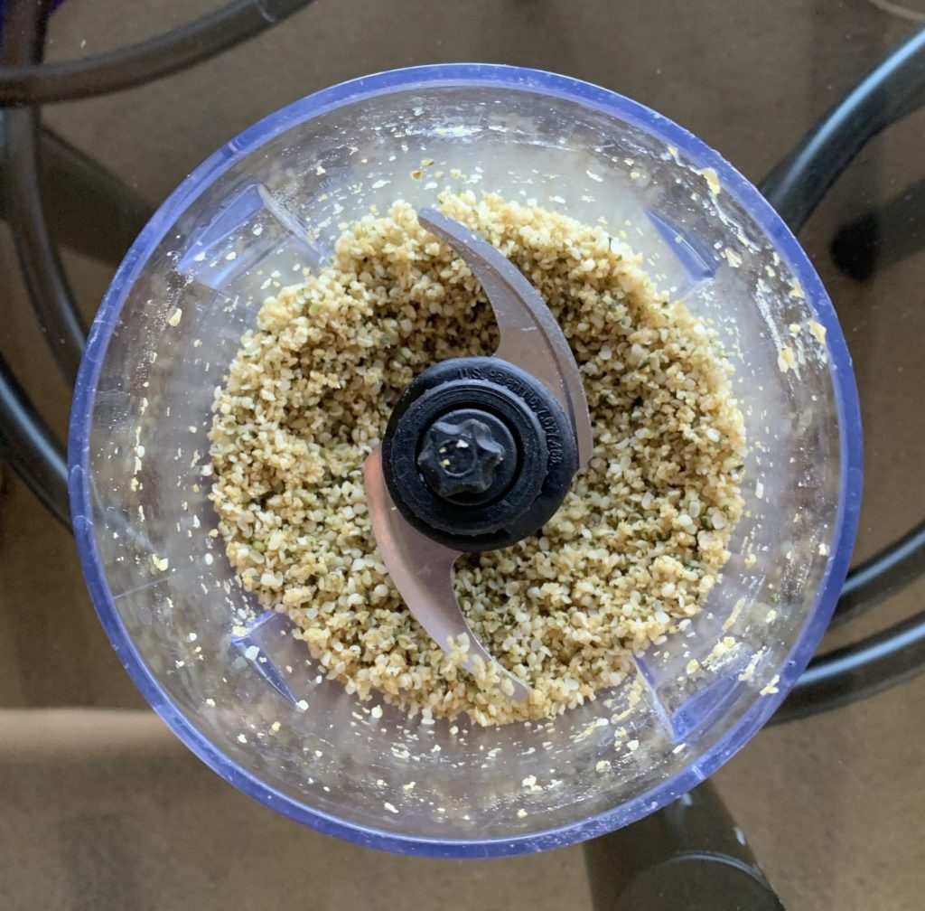 5 Minute Garlic Hemp Seed Parm a.k.a. Garlic Shake hemp seeds, garlic, salt, nooch and Brazil nuts processed in a food processor to make vegan parm