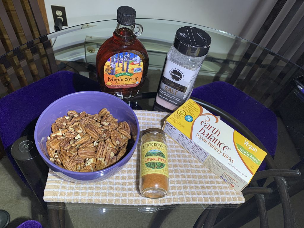 Ingredients for Easy Stove Top Maple Pecans