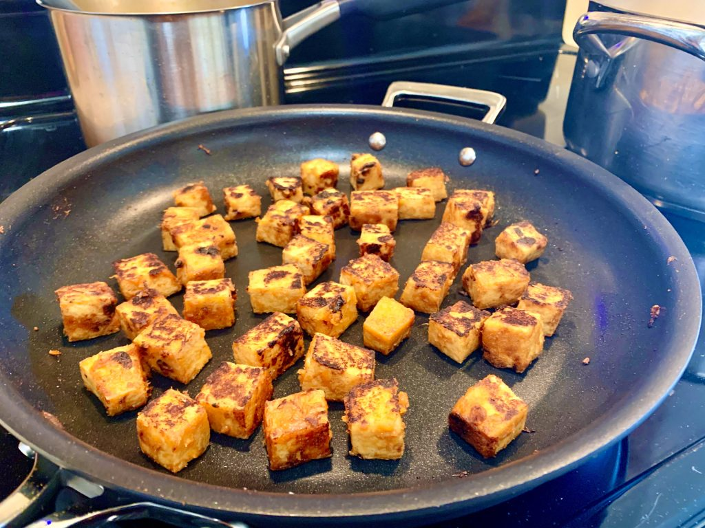 Tofu that has been pan-fried with Miso Base.