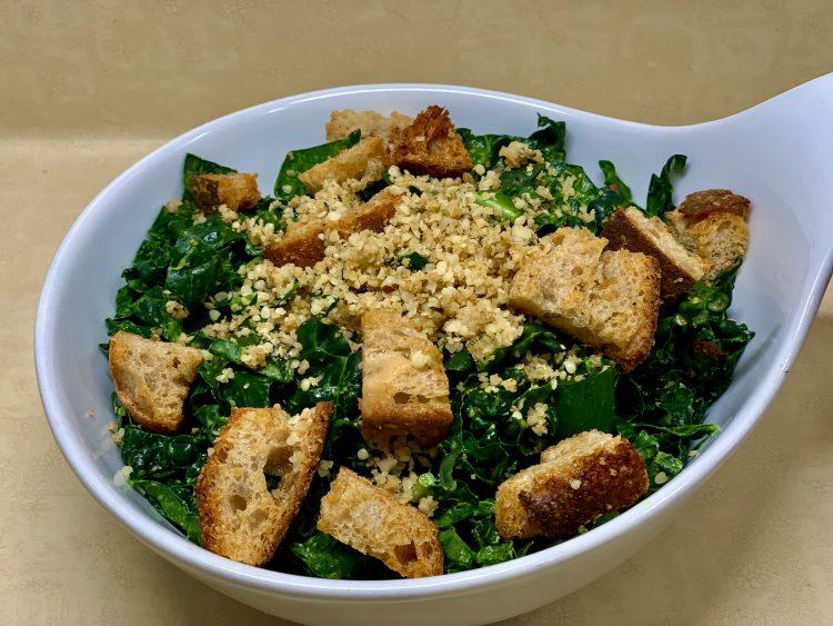 Vegan Caesar topped with Garlic Shake and Croutons