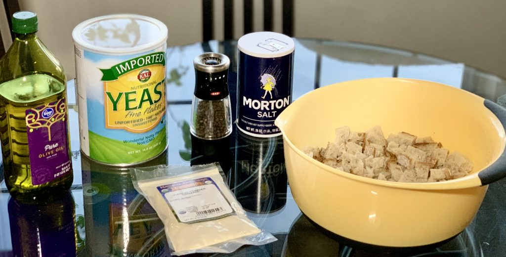 Ingredients for Homemade Garlic Nooch Croutons