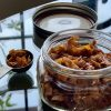 Vegan coconut bacon in a jar