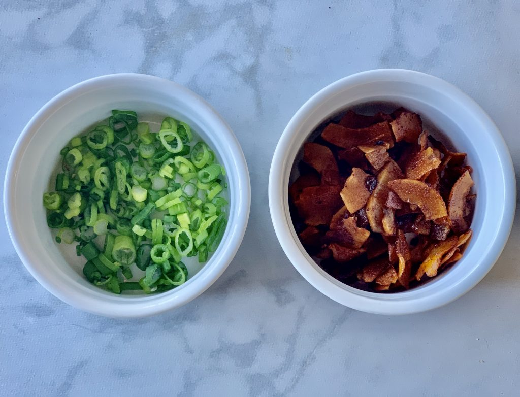 Scallions and Coconut Bacon Flakes