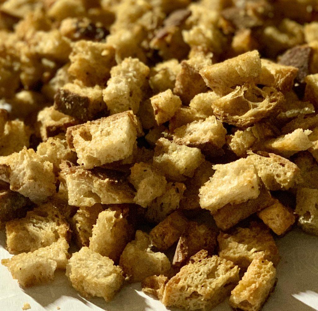 Close-up of Baked Homemade Garlic Nooch Croutons