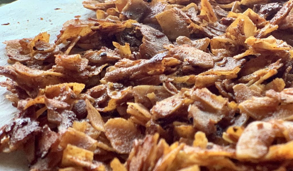 Closeup of the vegan bacon-y flakes