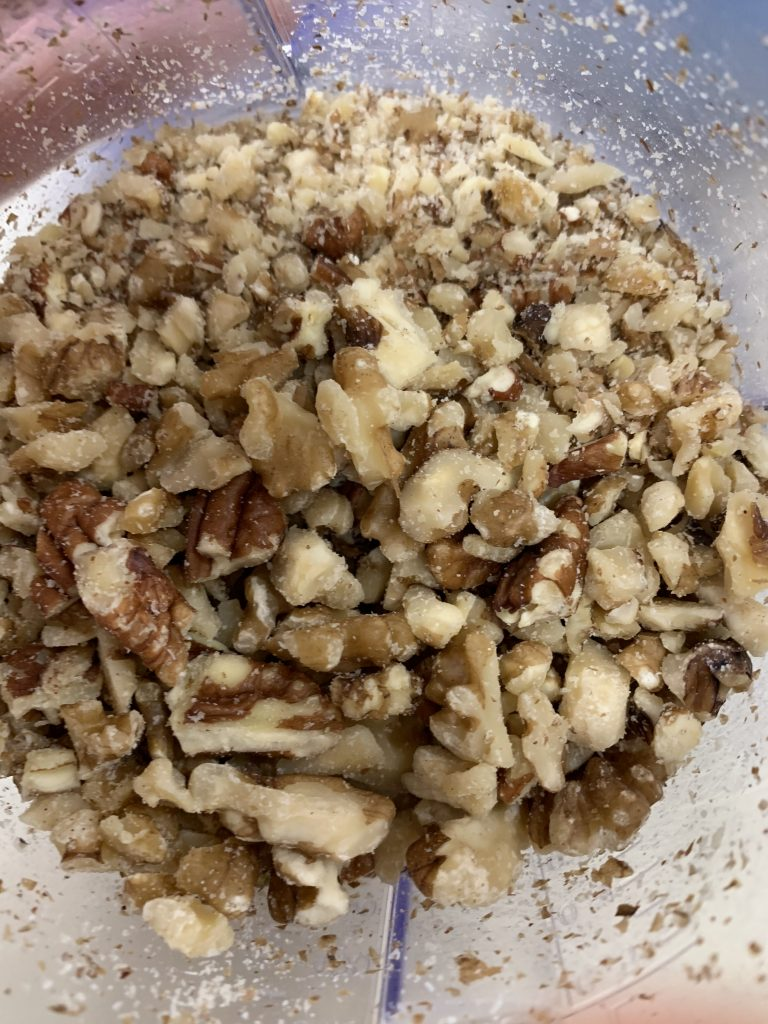Lightly chopped walnuts