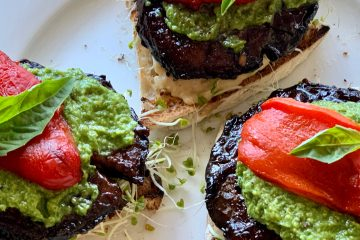 Portobello mushrooms with pesto and roasted red peppers
