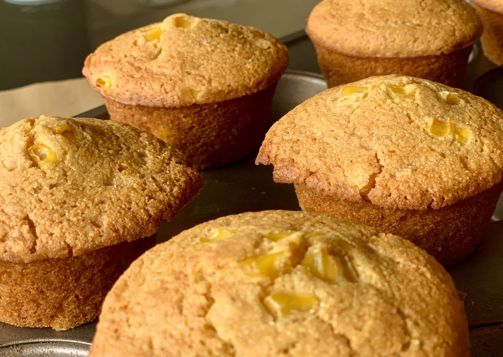 Close up of High-Altitude Homemade Oil-Free Vegan Cornbread Muffins
