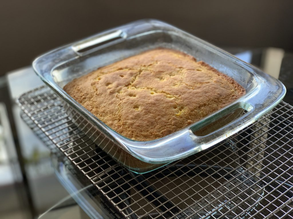 "High-Altitude Homemade Oil-Free Vegan Cornbread baked in an 8"" x 8"" glass baking pan"