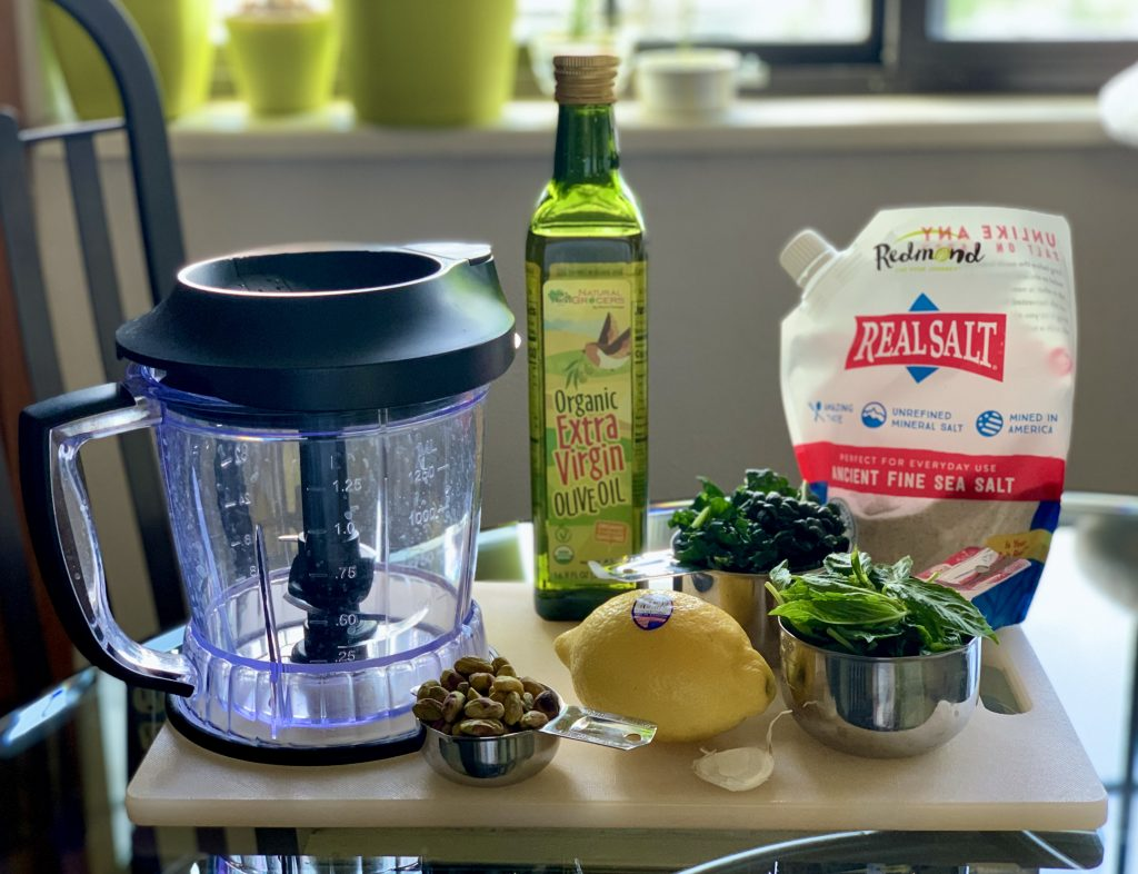 Ingredients for Lemon Kale-Basil Pesto