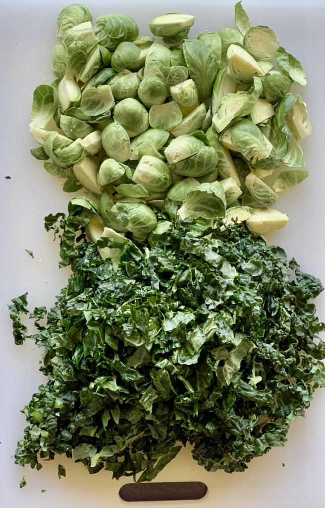Prepped Brussels sprouts & kale