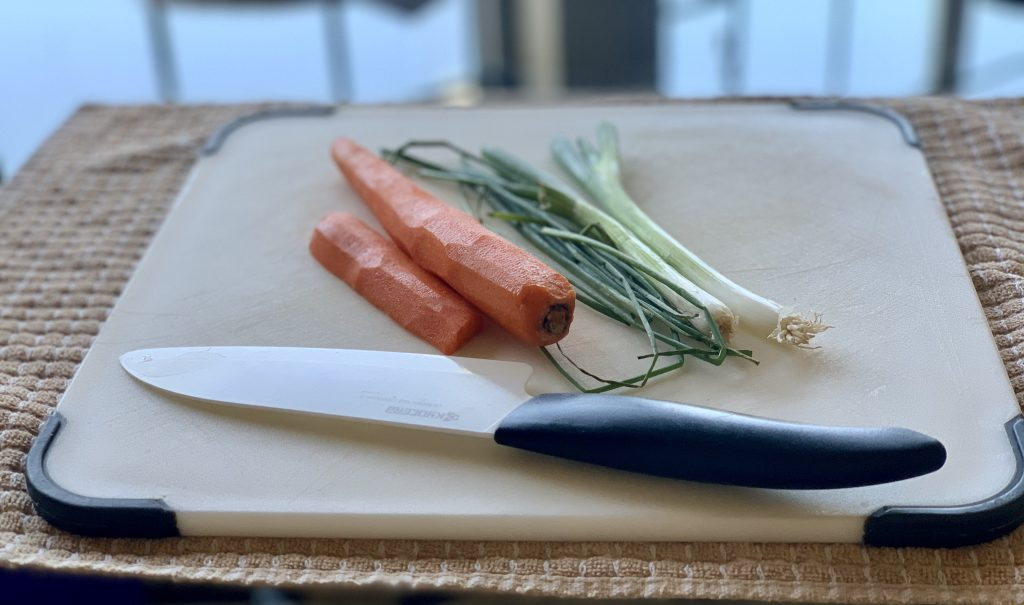 Carrot, scallions, and chives