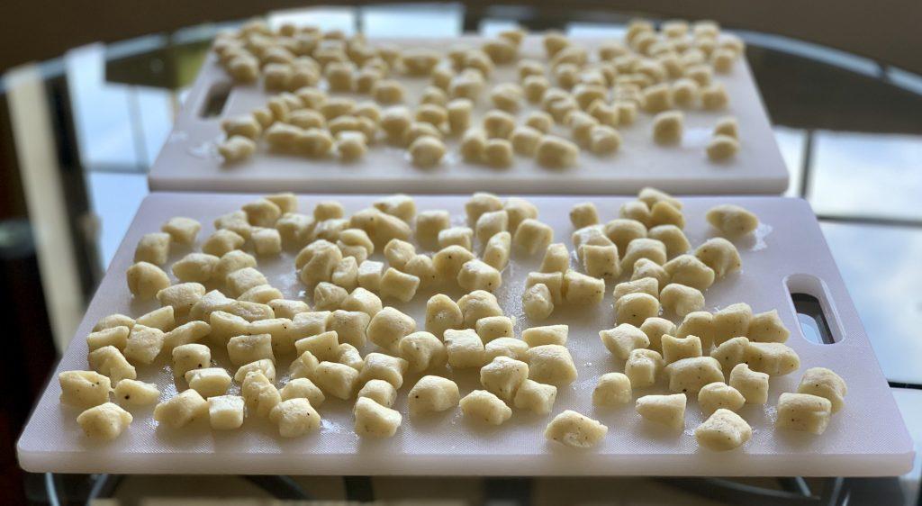 Homemade vegan gnocchi ready to freeze