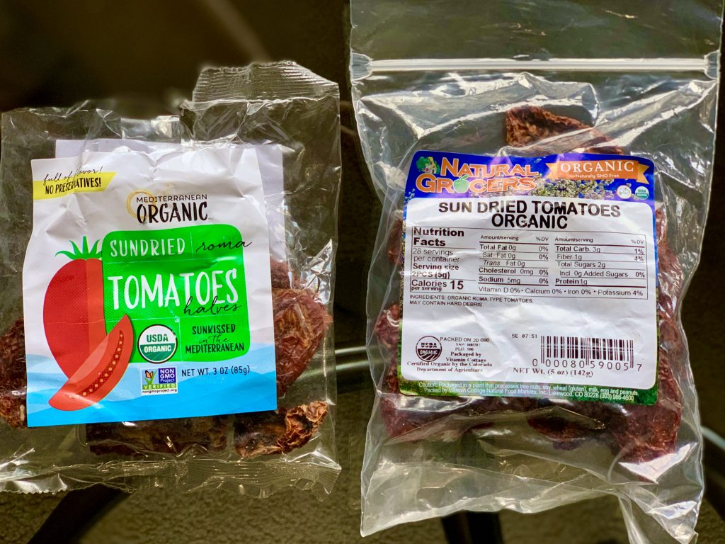 Both brands of sun-dried tomatoes I've used to make flackers