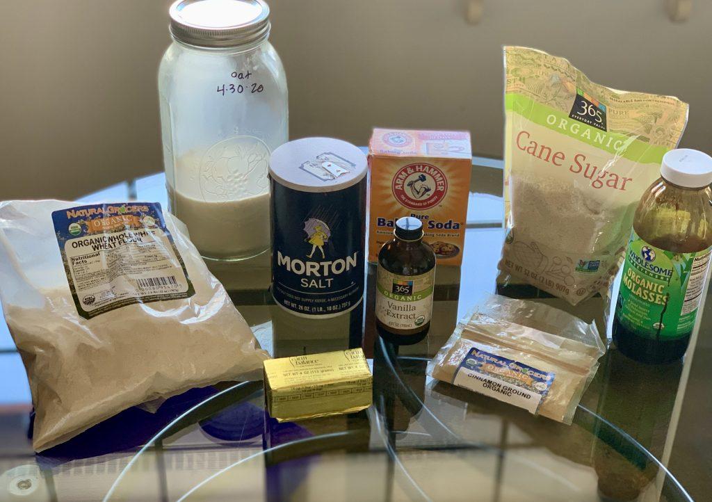 Ingredients for Homemade Cinnamon-Sugar Vegan Graham Crackers