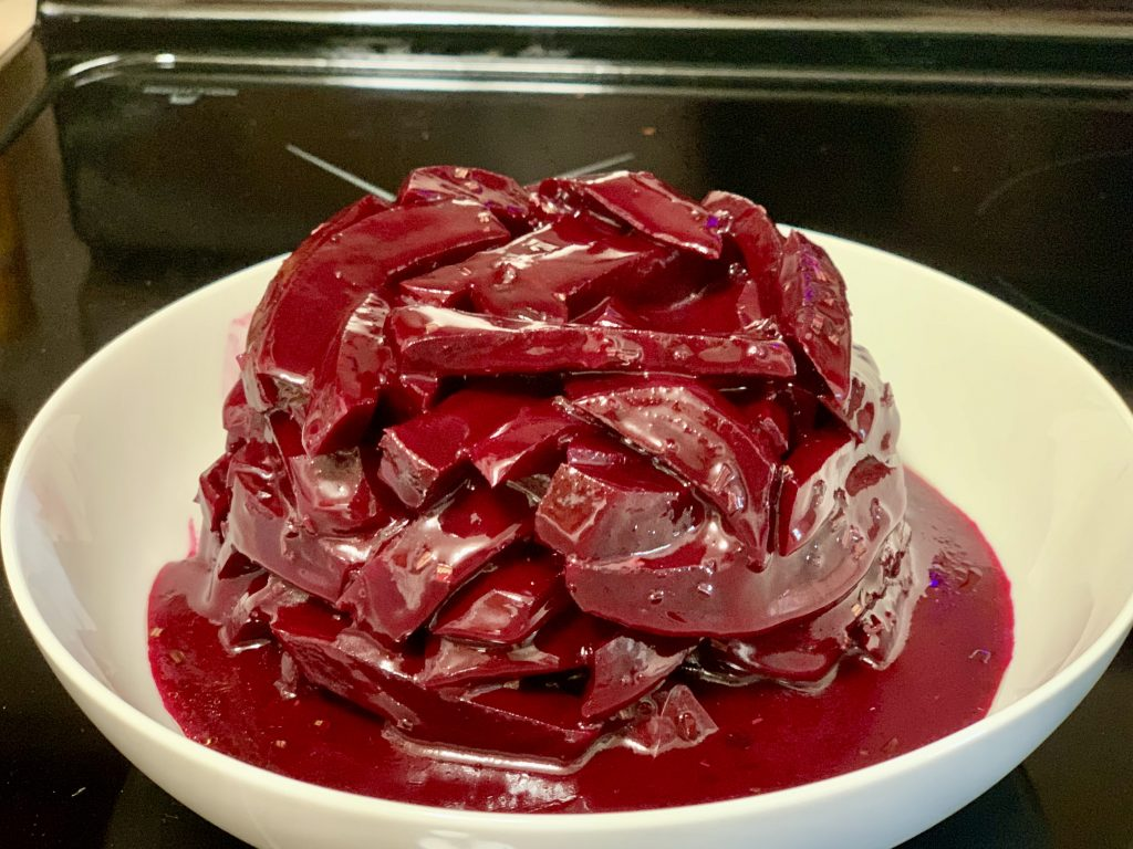 Beets after chilling in the fridge, looking a lot like cranberry sauce from the can