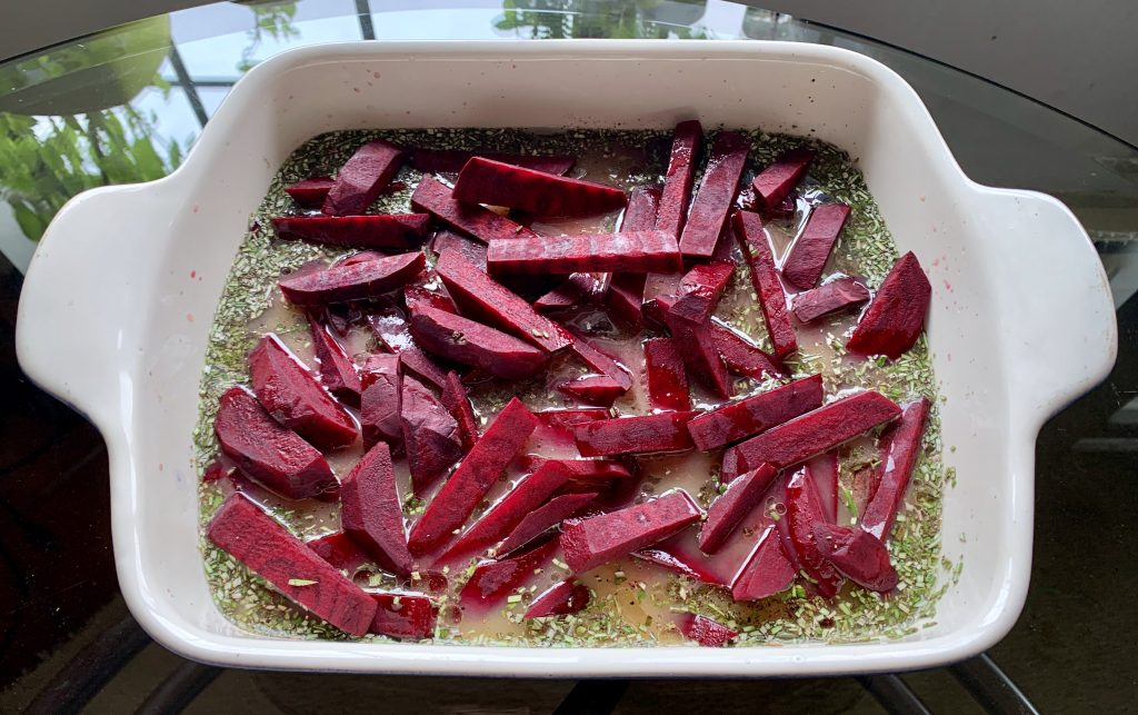 Beets prior to tossing in orange juice mixture