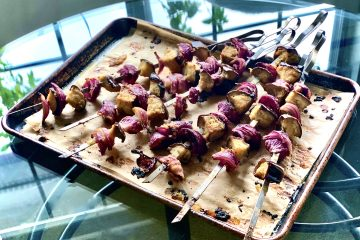 Miso Eggplant & Red Onion Skewers