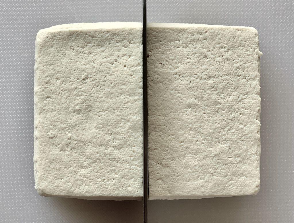 cutting tofu block in half