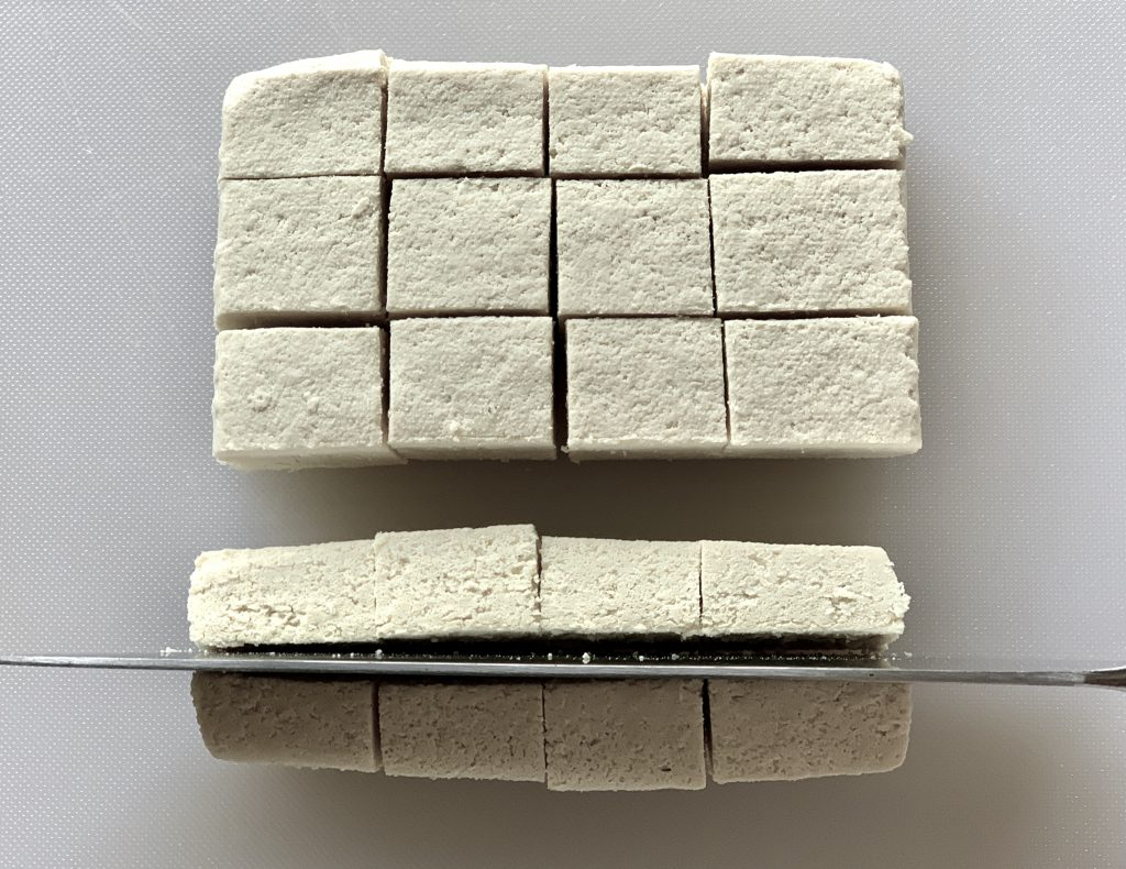 Cutting tofu block