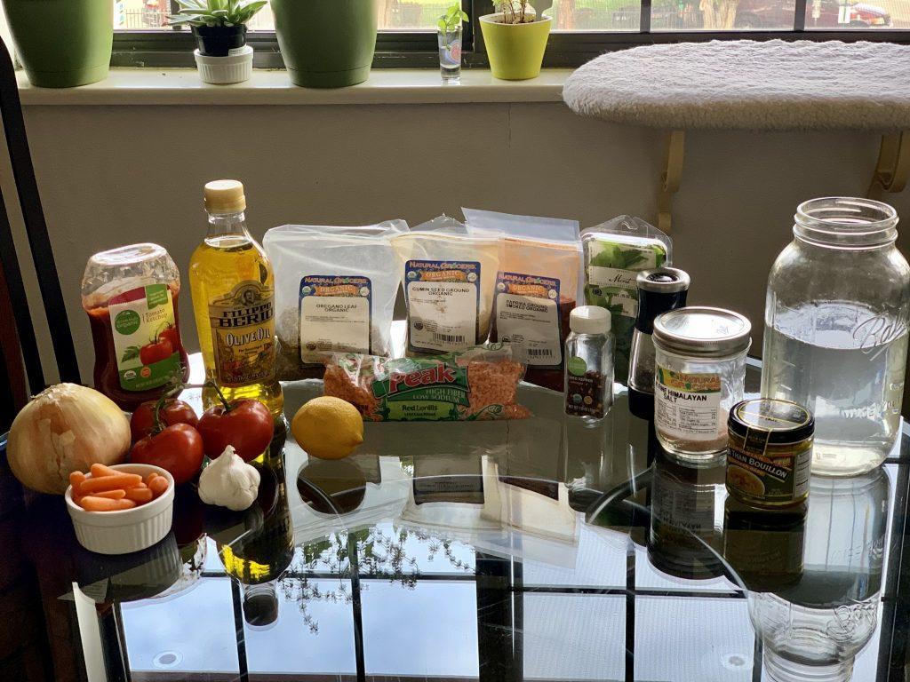 Ingredients for Instant Pot Turkish Red Lentil Soup