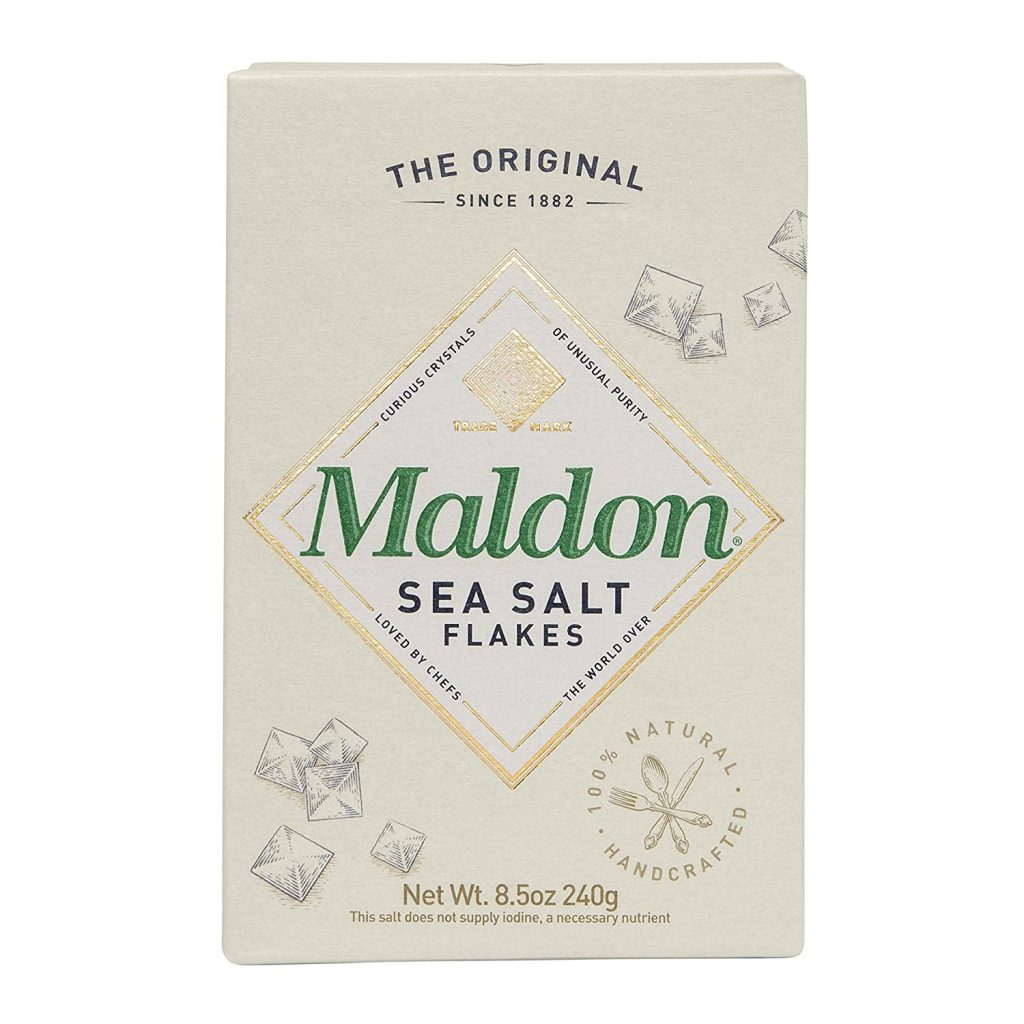 Maldon Sea Salt Flakes used in Crazy Crispy Roasted Vegan Garlic Potatoes