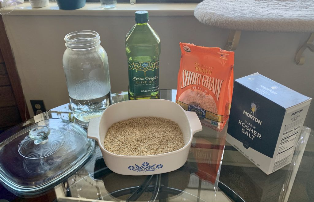 Ingredients for High-Altitude Oven Brown Rice