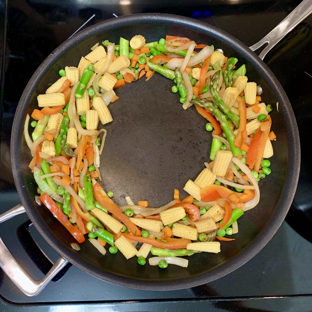 Making a veggie wreath for Vegan Tofu Veggie Scramble