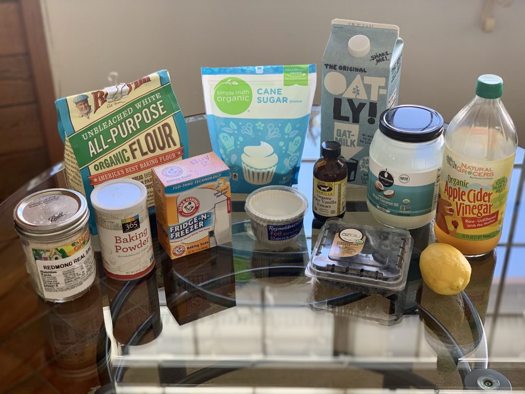 Ingredients for High-Altitude Vegan Blueberry Muffins