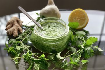 Vegan Mint Cilantro Chutney (Hari Chutney) in a small jar