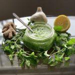 Vegan Mint Cilantro Chutney (Hari Chutney) in a small jar