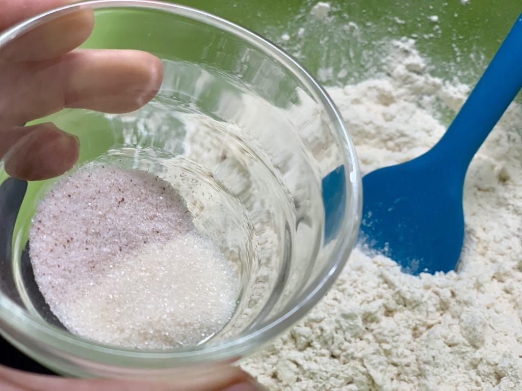 making vegan sourdough biscuit dough