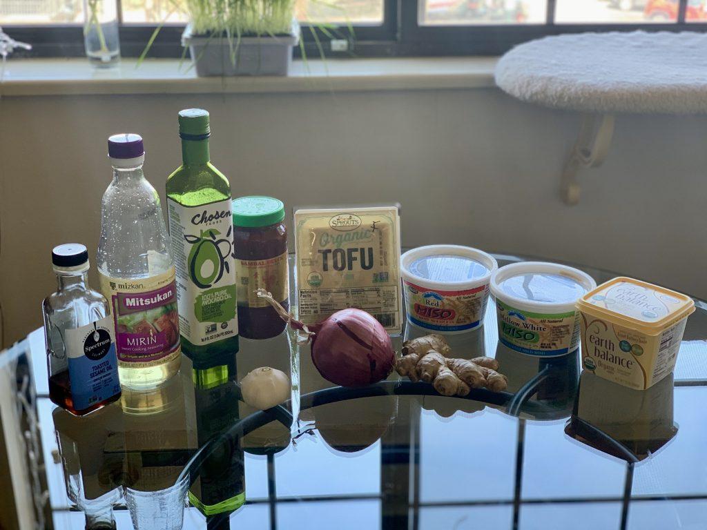Ingredients for Favorite Frozen Miso Tofu minus optional sriracha