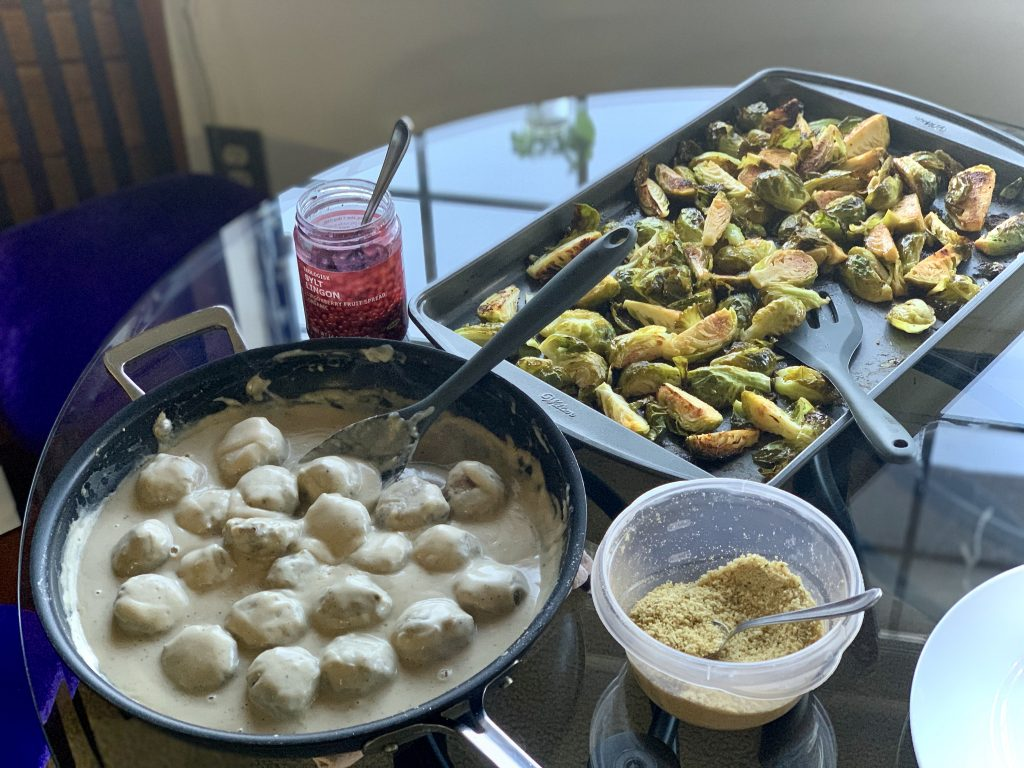 Marinated Oven-Roasted Brussels Sprouts with Vegan Swedish Meatless Balls and 5-Minute Garlic Hemp Seed Parm a.k.a. Garlic Shake