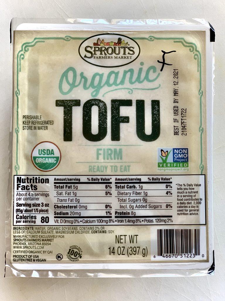 Frozen & thawed tofu, ready to press