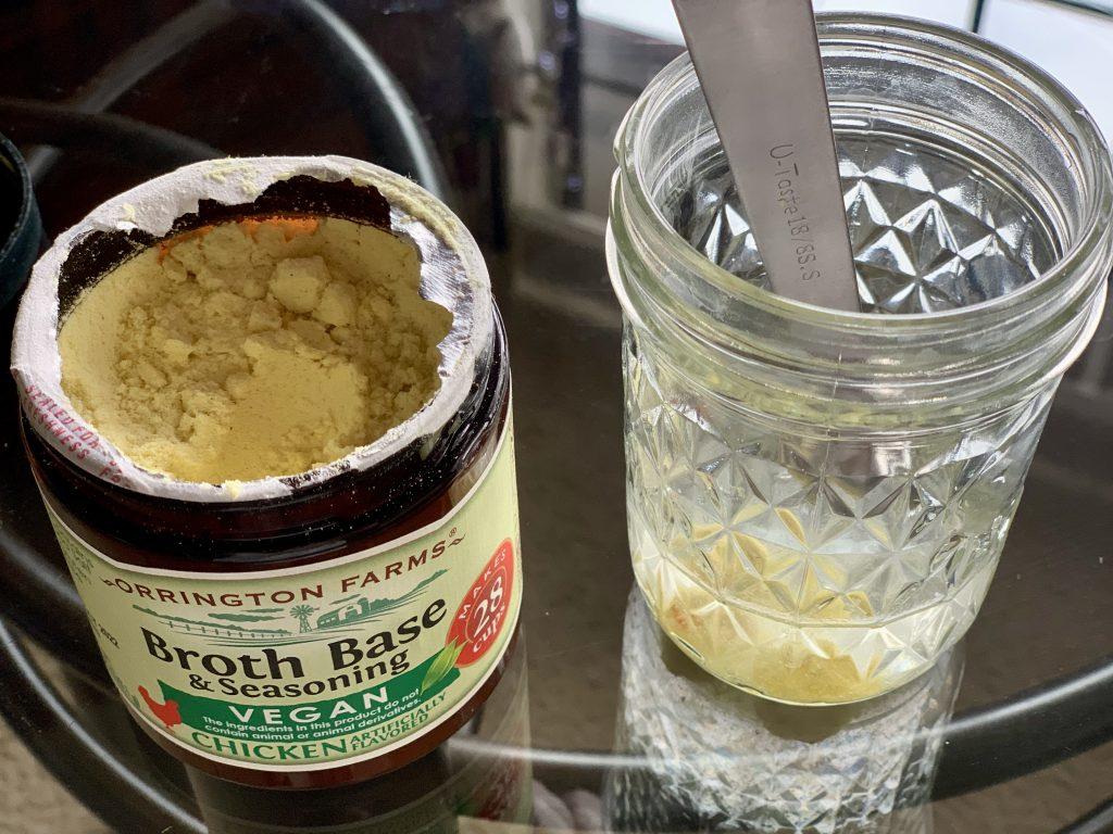 making broth for Crazy Good No-Peanut Sauce