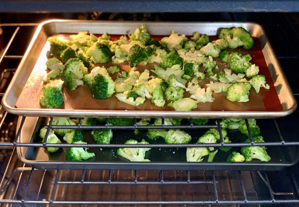 Roasted Broccoli with Vegan Garlic Parm in the oven