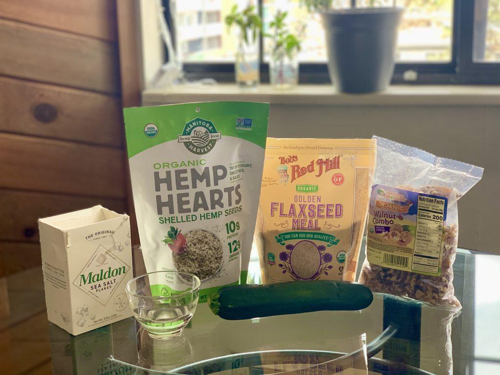 Ingredients for Walnut Hemp Seed Crisps