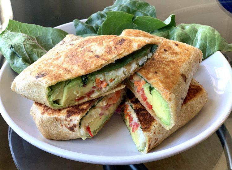 Grilled Avocado & Vegan Crab-less Salad Wrap