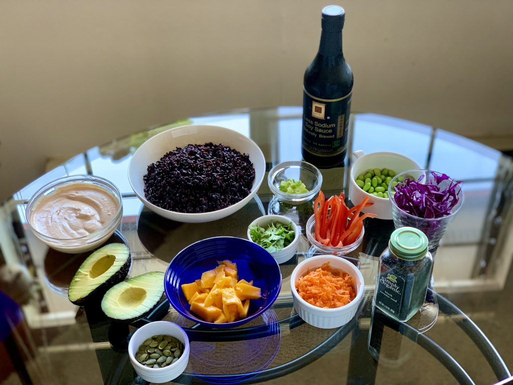 Ingredients for Forbidden Rice Veggie Bowls with Sriracha Mayo, Mango & Avocado