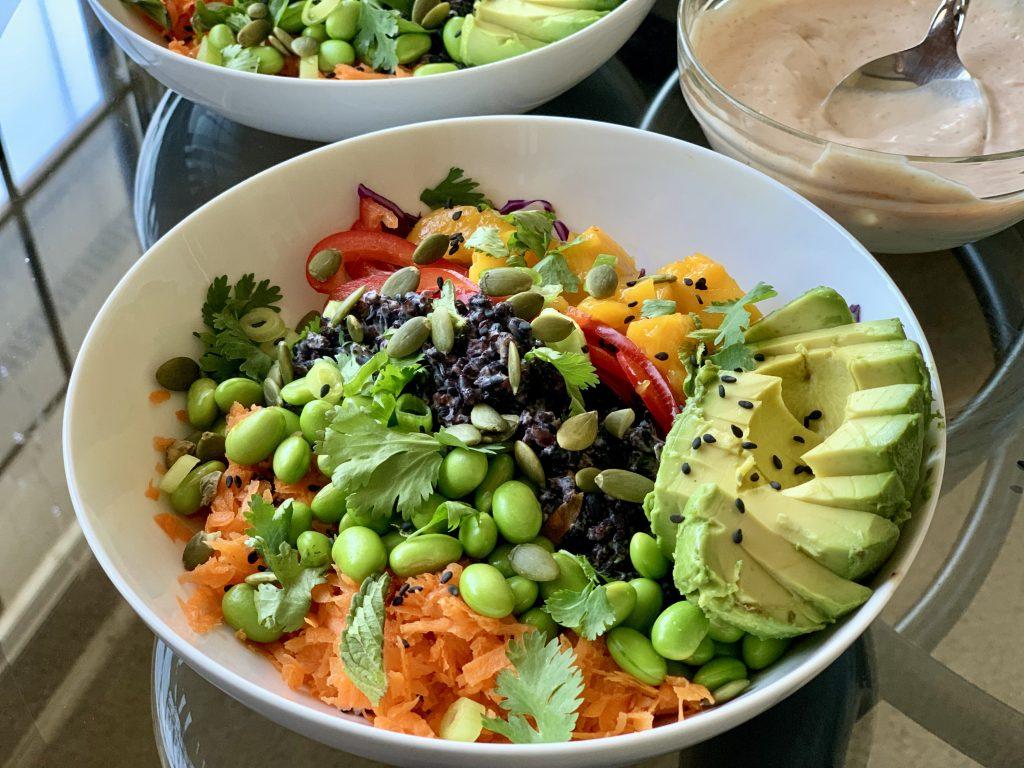 Forbidden Rice Veggie Bowls with Mango & Avocado, Sriracha Mayo on the side