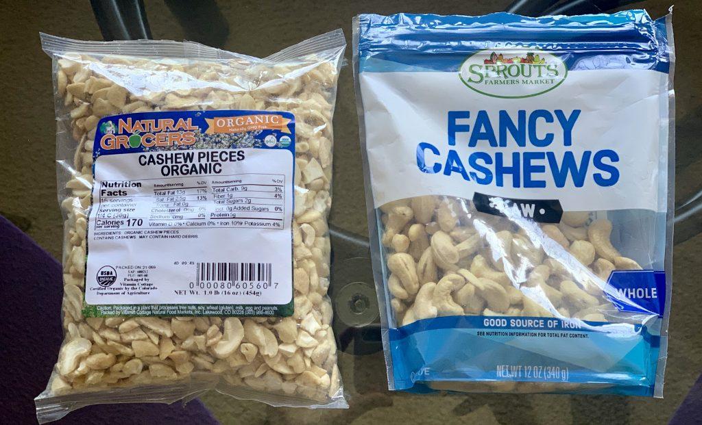 Cashews pieces & whole cashews