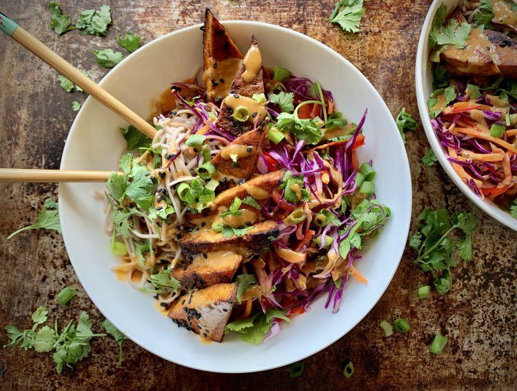 Cold Soba Noodle Bowl with Sriracha Tofu & No-Peanut Sauce