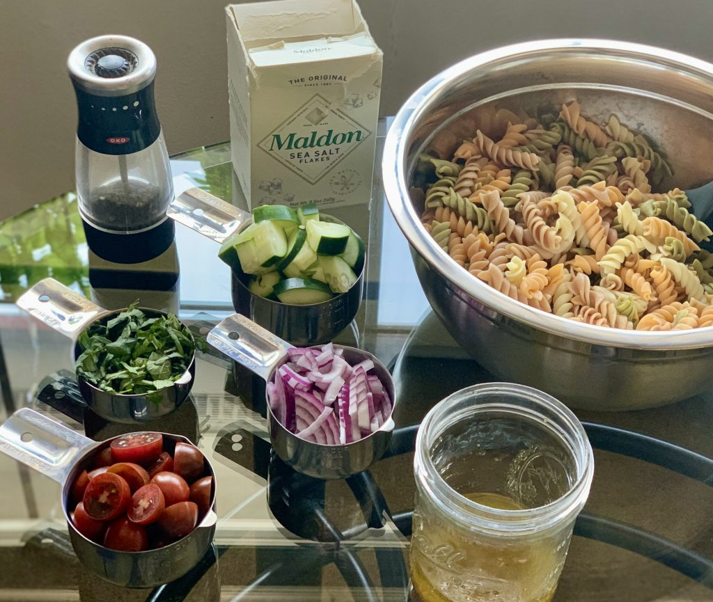 Prepped ingredients for Vegan Classic Pasta Salad