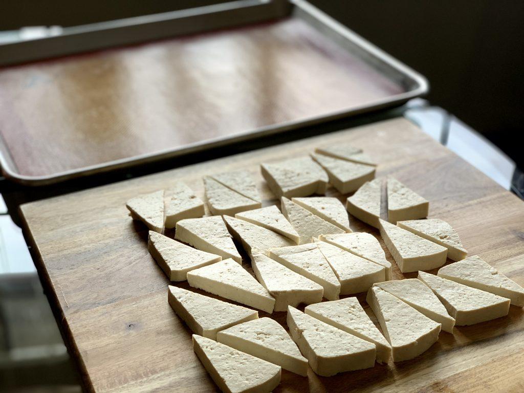 Tofu cut & ready to sauce for Cold Soba Noodle Bowl with Sriracha Tofu & No-Peanut Sauce