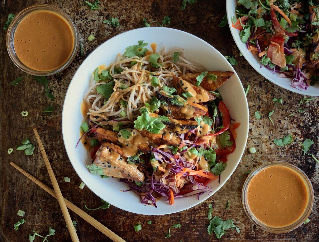 Cold Soba Noodle Bowls with Sriracha Tofu & No-Peanut Sauce