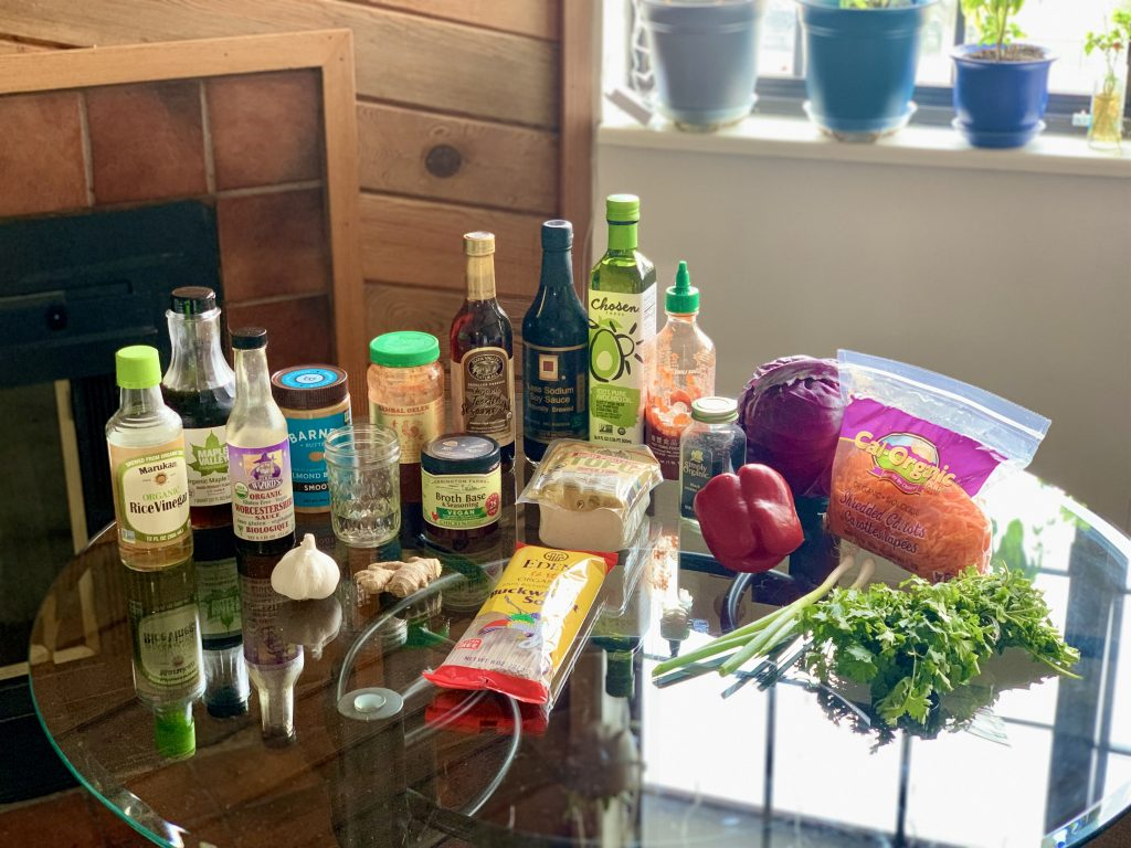 Ingredients for Cold Soba Noodle Bowl with Sriracha Tofu & No-Peanut Sauce