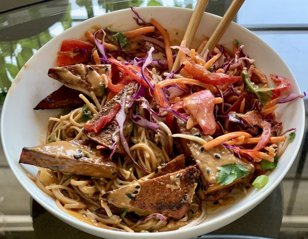 Well-mixed & partially eaten Cold Soba Noodle Bowl with Sriracha Tofu & No-Peanut Sauce