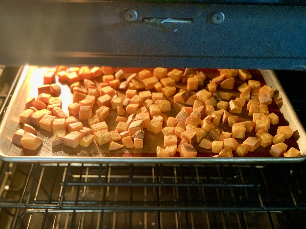 Diced Jewel yam in the oven