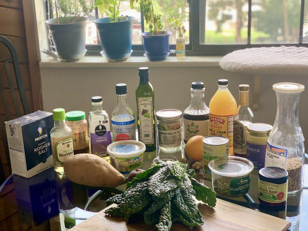 Ingredients for Glazed Yam & Kale Bowls with Orange-Ginger Tahini Sauce